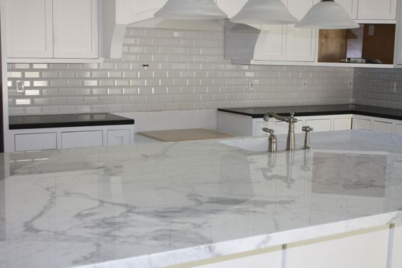 Calacatta Gold Island Slab And Beveled 3x6 White Backsplash Tile Projects Pinterest