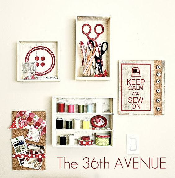 Sew cute wall: Sewing Room Decor, Diy Craft, Sewing Rooms, Craftroom Decor