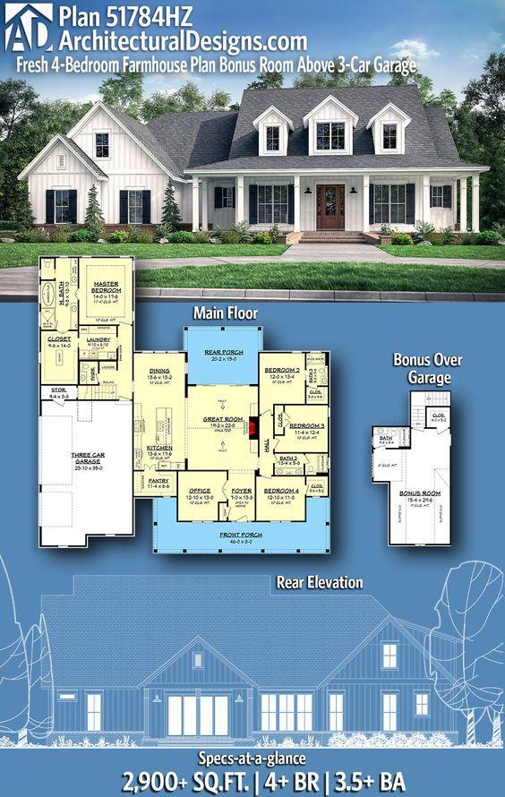 Plan 51784hz Fresh 4 Bedroom Farmhouse Plan With Bonus Room Above 3 Car Garage Farmhouse Plans House Plans Farmhouse House Plans