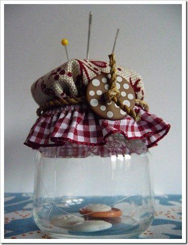 barattoli di vetro contenitore per bottoni shabby chic