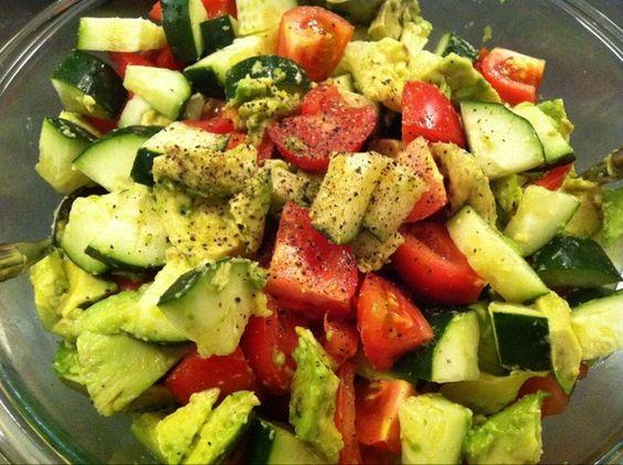 refreshing salad: cucumber, avocado, tomato, balsamic, ground pepper kalewithlove