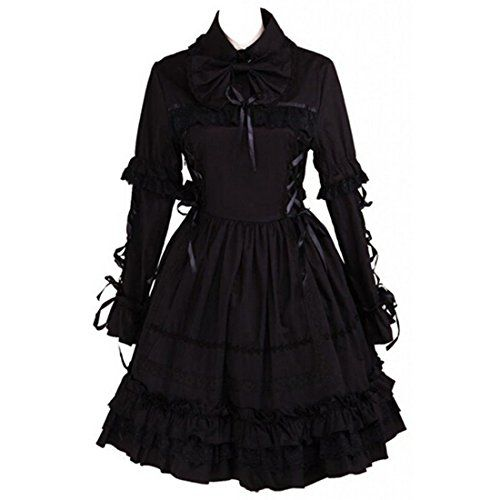 partiss damen schwarze cotton langarm gothisch lolita. Black Bedroom Furniture Sets. Home Design Ideas