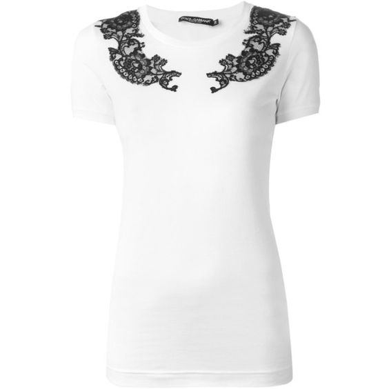 Dolce & Gabbana floral lace appliqué T-shirt (1,023 CAD) ❤ liked on Polyvore featuring tops, t-shirts, white, white lace top, short sleeve tees, white lace tee, floral lace top and white tee