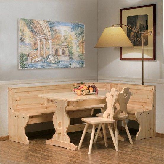 Arredo #rustico #legnomassello giropanca www.arredamentirustici.it ...