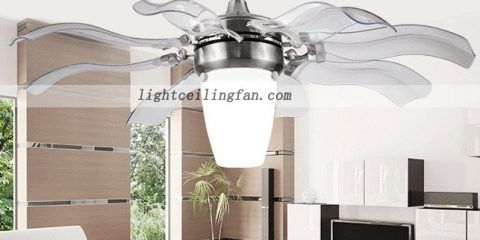 42inch Crystal Ceiling Fan Four Hidden Blades Led Ceiling Light
