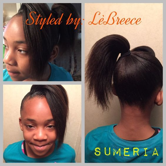 Hair Styled By: LèBreece 🎀 -----high ponytail with bang