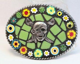 Mosaic Belt buckle pirate, green