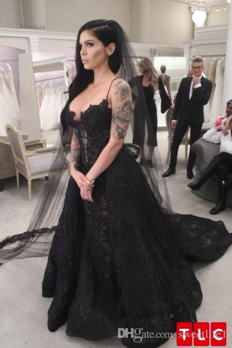 2018 New Black Spaghetti Straps Wedding Dresses Lace Sweep Train