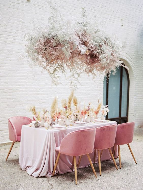 All hail the plush velvet and sprawling plumes in today's monochromatic pink wedding inspiration from our NYC Styled Social for wedding photographers.