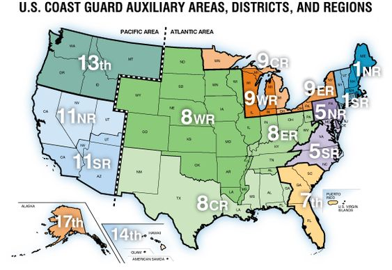 U.S. Coast Guard Auxiliary Areas, Districts, and Regions.