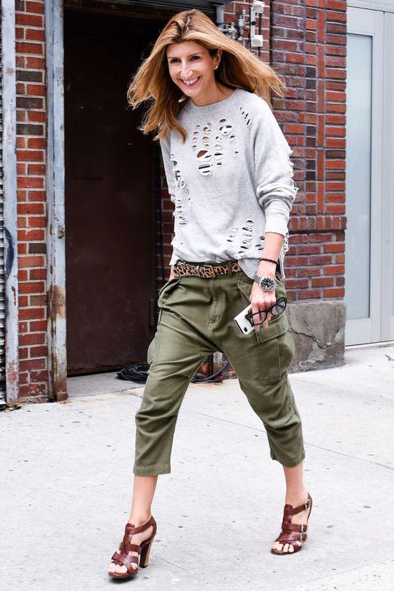 haute holes & khakis. #SarahRutson in NYC.