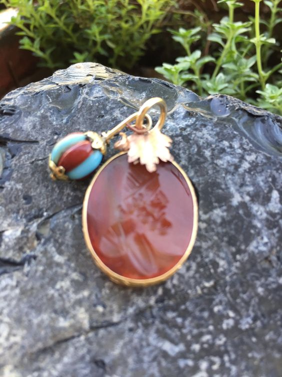 Antique Victorian Intaglio Carnelian Wax Seal Pendant Solid Gold on a Gold Filled Necklace   @CELESTEANDCOGEMS by CelesteandCoGems on Etsy