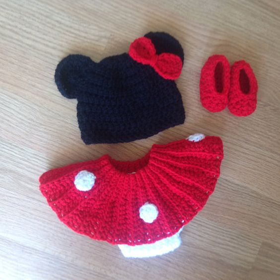 Minnie Mouse hat diaper cover skirt and by MimisClosetBoutique