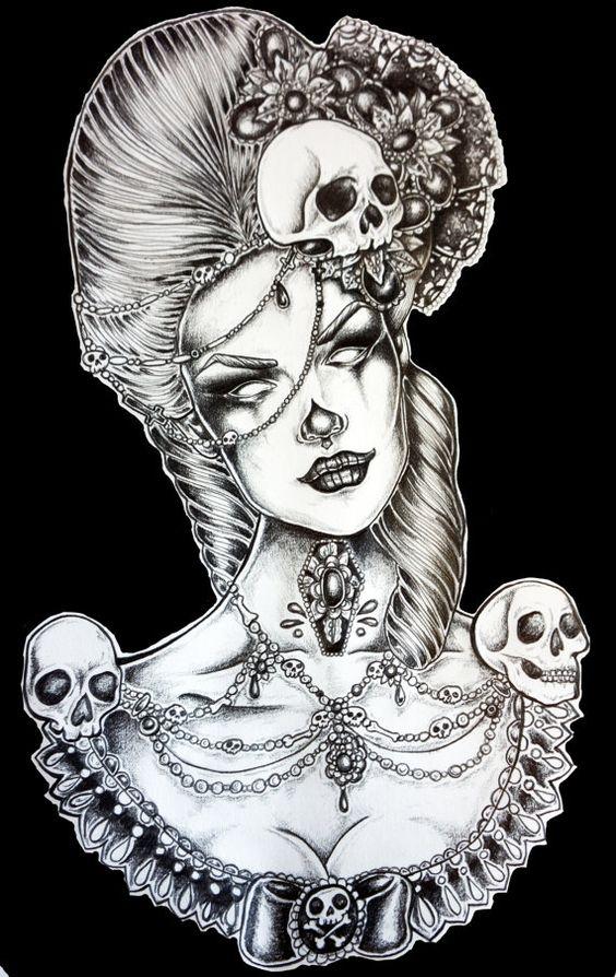Art Print  Marie Antoinette / Marie Laveau Victorian  Dark gothic art Skulls  12 by 16 Tattoo Art Black and White Lowbrow