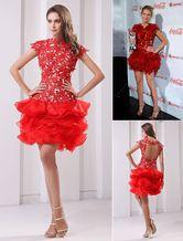 Red apliques de organza vestido de regreso - Milanoo.com
