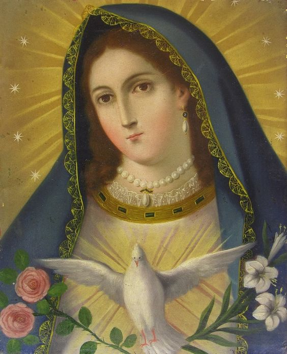 Virgen de la Paloma  A Mexican retablo painting of the Virgin of the Dove, which depicts Mary as the bride of the Holy Spirit.