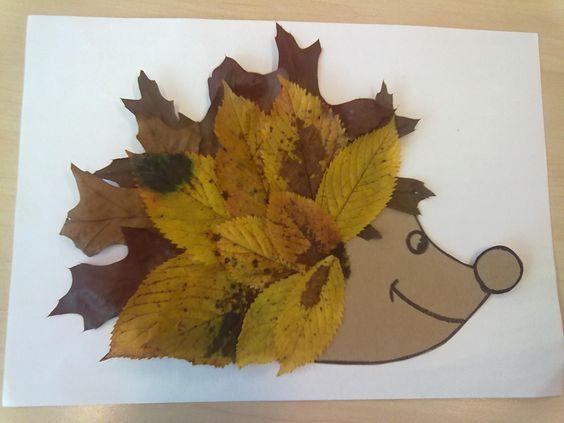 Egel voorzien van bladeren....bedoeld voor kleuters in groep 1/2