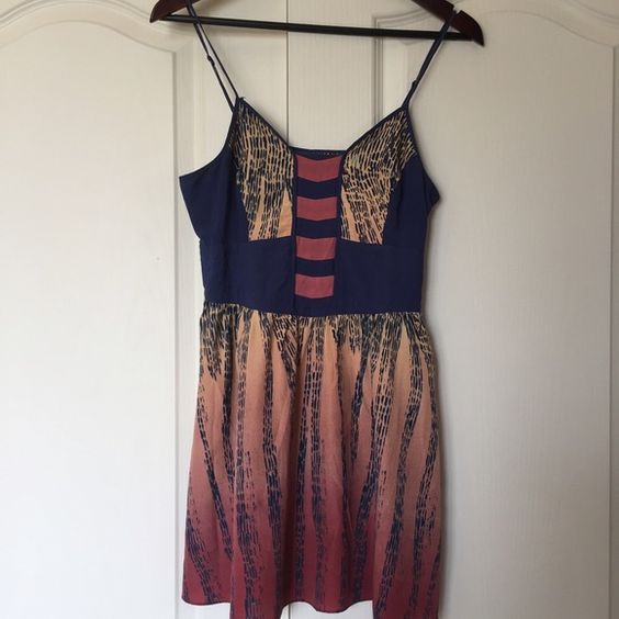 Urban Outfitters Ecote Ombré Printed Dress Cute ombré printed minidress from Urban Outfitters. Adjustable straps, lined skirt. Size small, excellent condition. Would also work as a tunic to pair with jeans or leggings. Stock photo pictured is different print but shows fit. Urban Outfitters Dresses Mini