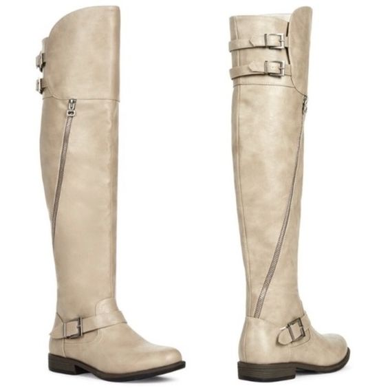 Over The Knee Stone Colored Boots Over The Knee Boots