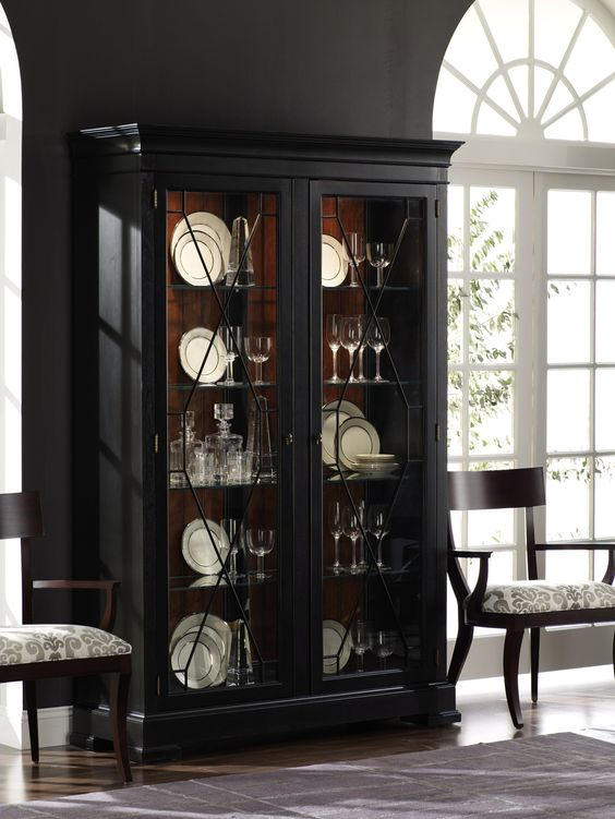 Statement piece. (Shown: Birkhouse Display cabinet in Eclipse/Viola.) Like the cabinet and design on end chairs