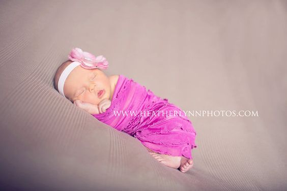 Fuchsia Pink Ruffle Fabric Stretch Wrap  Newborn by karlyskloset, $10.00