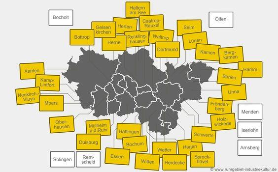 Städte und Gemeinden im Ruhrgebiet mit Dokumentationen. Bitte auf die Ortsschilder klicken, um dorthin zu springen