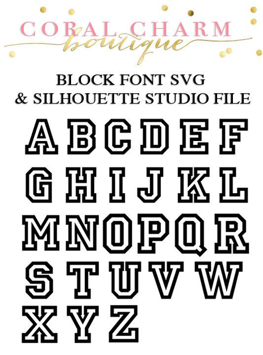 Varsity Block Font Files for Cutting Machines | SVG and Silhouette ...