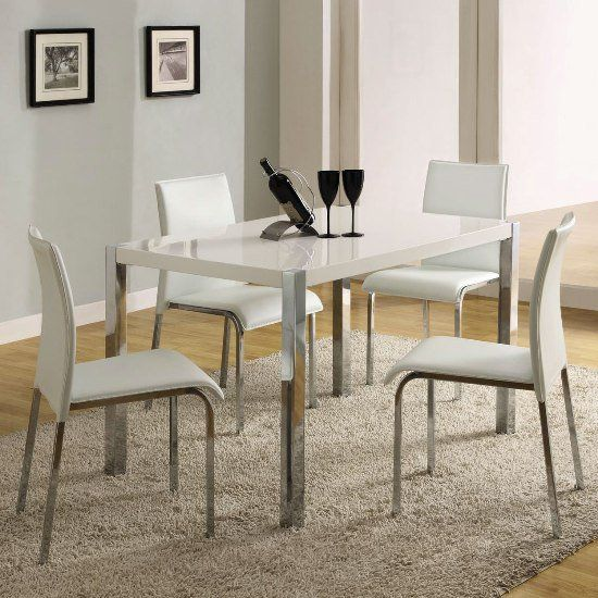 Stefan High Gloss White Dining Table And 4 Chairs White Dining Chairs Kitchen Table Settings Retro Kitchen Tables