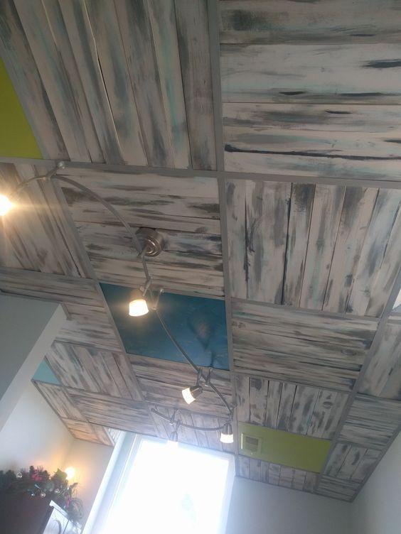 Diy Pallet Board Ceiling In Place Of Drop Ceiling Tiles Modern Ceiling Office Ceiling Interior Des Dropped Ceiling Drop Ceiling Tiles Ceiling Tiles Diy