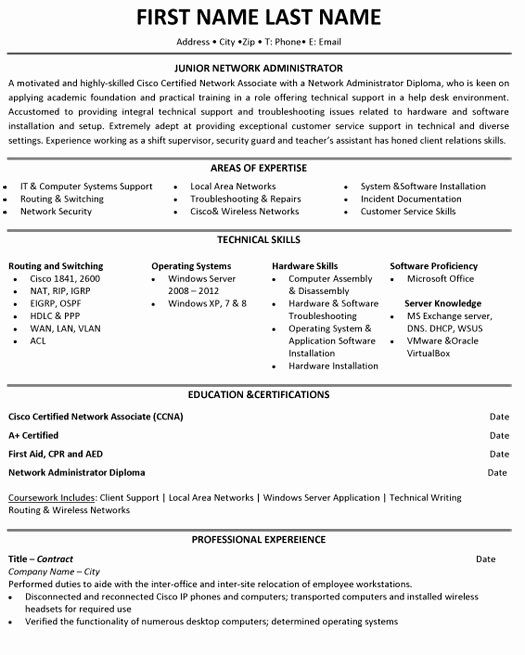 Network Engineer Resume Example Unique Jr Network Administrator Resume Sample Template Network Engineer Student Resume Student Resume Template