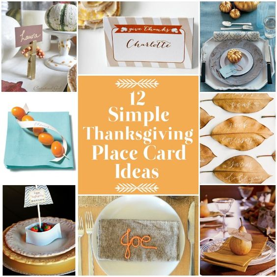 Simple Thanksgiving place card ideas: Place Card Holders, Thanksgivings Ideas, Fall And Thanksgiving Ideas, Card Ideas, Fall Thanksgiving Ideas, Pumpkin Place, Thanksgiving Place Cards, Autumn Thanksgiving