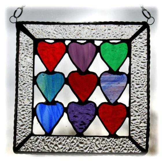 9 Hearts Suncatcher Stained Glass Jewel Love Handmade  £13.50