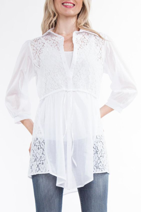 Lightweight cotton with lace accents.Button up front with drawstring waist.Dress it up or down.   Off White Blouse by Yvonne Marie. Clothing - Tops - Blouses & Shirts Montreal, Canada