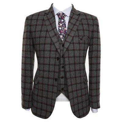 Men Grey Tweed Vintage Check Groom Tuxedo Dinner Prom Formal Wedding Suit Custom