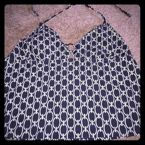 Tankini Swim Suit Top Black & white with silver tankini top Sand N Sun Swim Bikinis