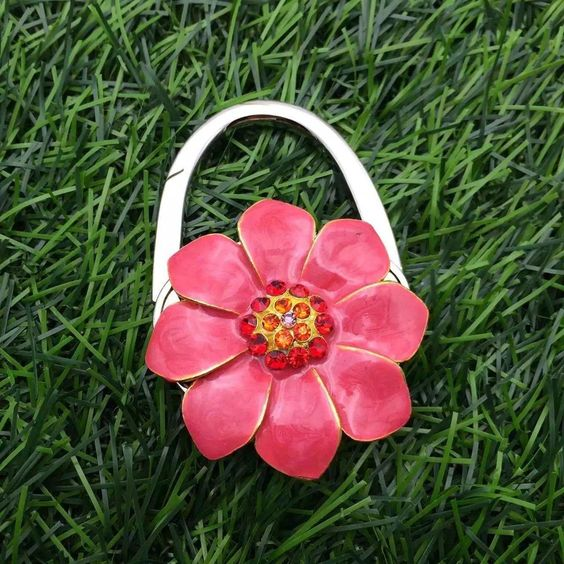 flower shape / Women's gift/ fashion accessory gift/ Folding Foldable Lady Girl Handbag Table Desk Hanger Hook Purse Table Hanger Holder, Great Gift for Birthdays Christmas wedding gift  Foldable handbag hook, bag hangers