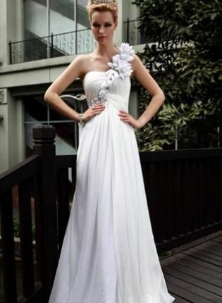 White Asymmetrical Wedding Dress with Floral Strap,  Dress, Prom dress  One Strap  Floral  Embellished, Chic