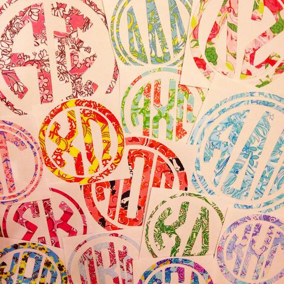 Lilly pulitzer inspired sorority decal crafting pizza for Lilly pulitzer sorority letters