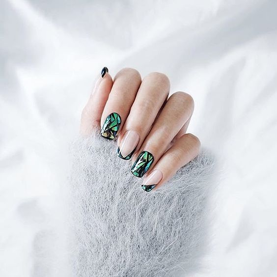 Shattered-Glass Nails #GreenNails #Nails #NailArt #ShopStyle #GreenNails #FrenchTipNails #Photography