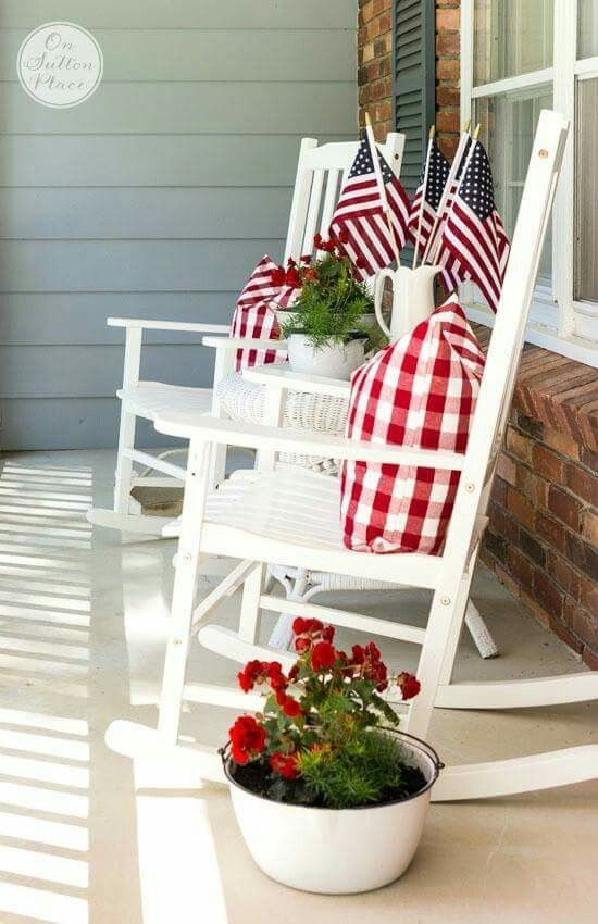 Patriotic Porch by On Sutton Place and other cute and easy Memorial Day, Fourth of July, Labor Day and patriotic DIY decorations!: