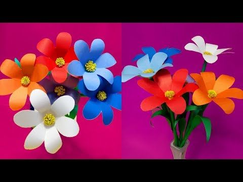 How To Make Beautiful Paper Flower Stick For Room Decoration Diy