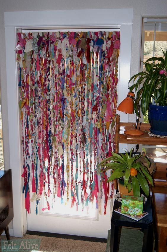 Bright Interior Detail Rag Curtains Boho Curtains Diy Curtains
