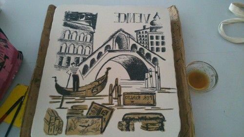 """Dibujando """"Venice"""" mi segunda litografía.  Me he puesto tumblr en el movil, así podré subir fotos de los procesos más fácilmente.  http://isabelcouchoud.tumblr.com/"""