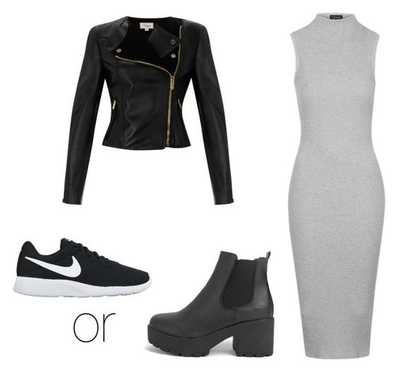 """Black leather jacket + maxi dress"" by thisisthelife4 on Polyvore featuring Temperley London, NIKE, Boohoo and Topshop"