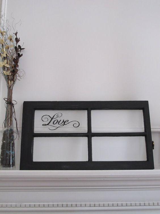 Old Window-Painted Window Frame-Black Antique Window-Old Window Pane