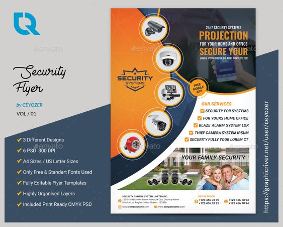 Security Systems Flyer Logos Conte