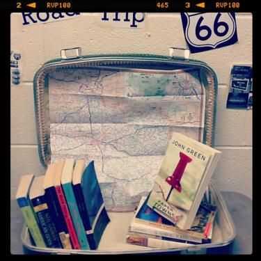 Road Trip book display!  on the road, 13 little blue envelopes, goinf bovine, paper towns, an abund of kath, walk two moons, amy & roger's epic detour, the bean trees, sisterhood of traveling pants, american gods, canterbury tales: