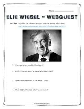 Elie Wiesel (Night) - Webquest with Key (His Life and ...