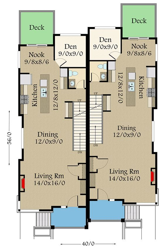 Plan 85260ms Modern Two Family House Plan With Matching 3 Bed Units Family House Plans Narrow House Plans House Plans