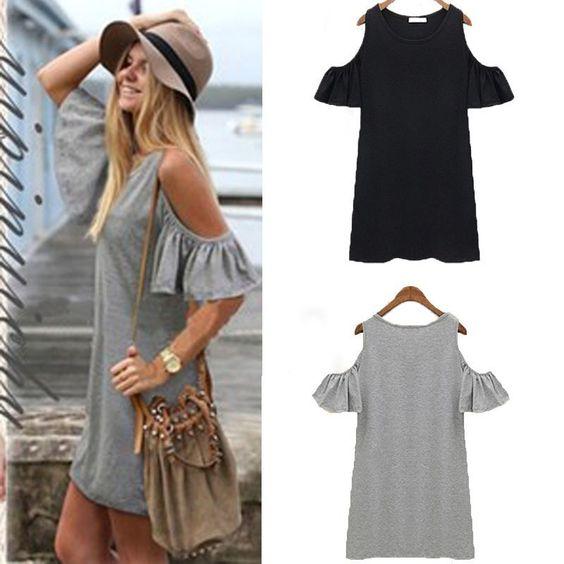 New Womens Casual Loose Off Shoulder Long Blouse Tops Shirts Mini Dress T-shirt #ShirtDress #Casual